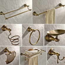 Antique Bronze Carved Bathroom Hardware Sets Wall Mounted Bathroom Products Brass Towel Ring Bathroom Accessories Set Kxz030 european style antique bathroom towel rack set wall mounted carved bathroom hardware set luxury bathroom products