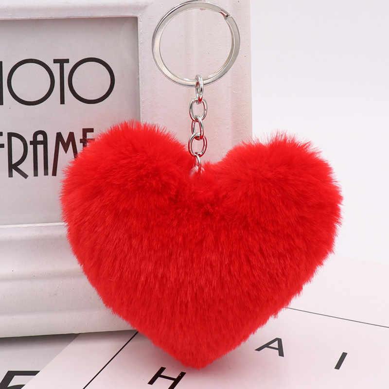Quente 1 pc 10 cm bonito fofo coração chaveiros das mulheres falso rex coelho pele chaveiro menina saco pendurar carro chaveiro acessórios de jóias