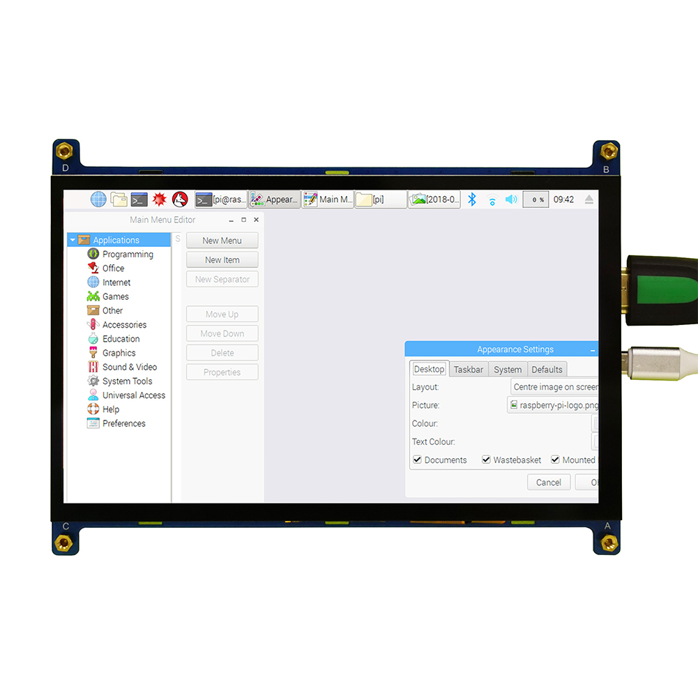 7 Inch Touch Screen Module Portable Monitor 1024x600 HDMI High Resolution Durable <font><b>Capacitive</b></font> <font><b>Display</b></font> Metal For <font><b>Raspberry</b></font> <font><b>Pi</b></font> IPS image