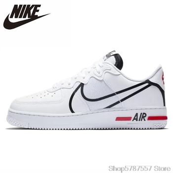 Original Nike Air Force 1 React Low Women Shoes Skateboarding Shoes Light-Weight Outdoor Sports Sneakers CD4366-100