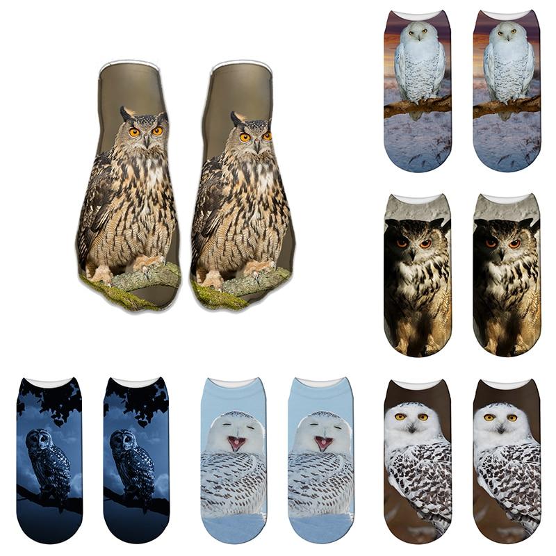 3D Printed Owl Animal Pet Funny Cute Cotton Summer Short Ankle Socks For Man Women Harajuku Korean Novelty Socks