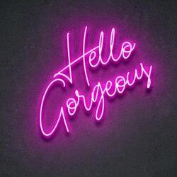 На заказ Hello Великолепная неоновая вывеска, настенные светильники, вечерние свадебные витрины, украшения для ресторана, дня рождения