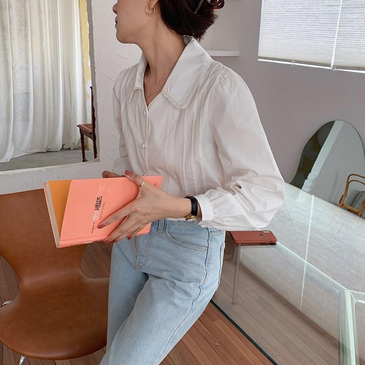 H38866376963e4fb28202552ec1965fb6B - Spring / Autumn Korean Turn-Down Collar Long Sleeves Buttons Lace Blouse