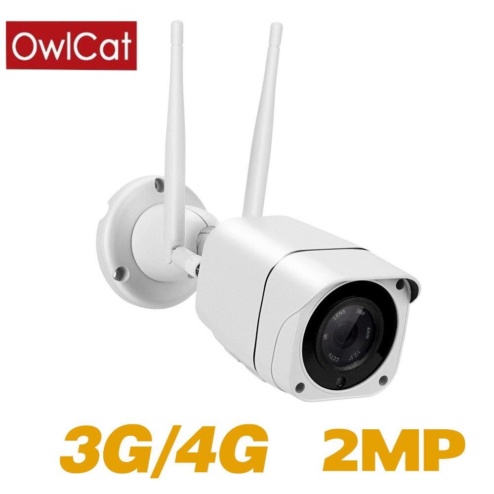 OwlCat Full HD 1080P 3G 4G carte SIM sans fil Wifi IP caméra extérieure Audio parler MiFi CCTV caméra de sécurité CamHi 128G fente pour carte SD