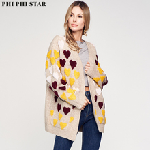 Phi Star Brand Love heart Jacquard knitting cardigan sweater women Long Sleeve Loose Cardigans