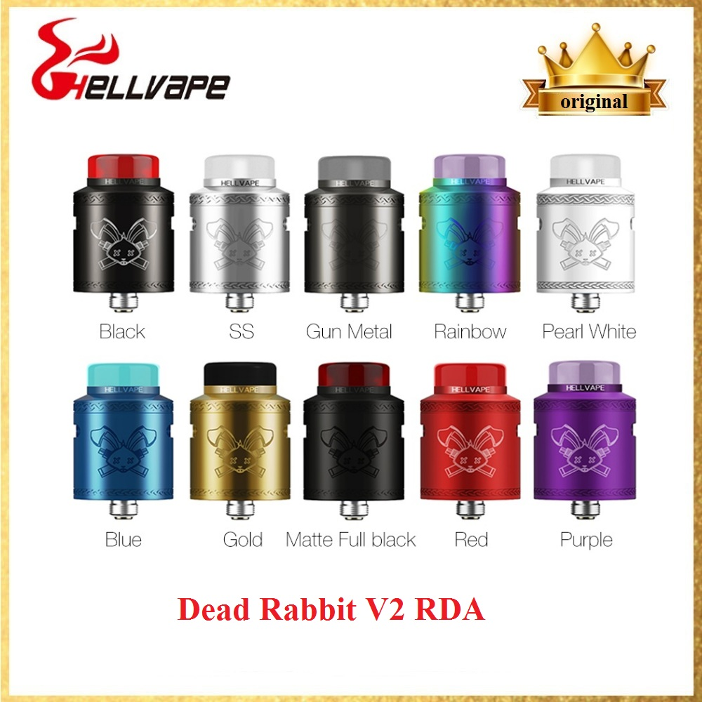 New Hellvape Dead Rabbit V2 BF RDA Atomizer Wi/ 510 Adapter & Support Single/Dual Coils Electronic Cigarette Vape Tank VS ZEUS X