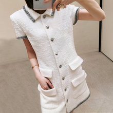 high quality 2020 Summer Women white Tweed Mini Dresses turn down collar single breasted Elegant Celebrity Dress y606
