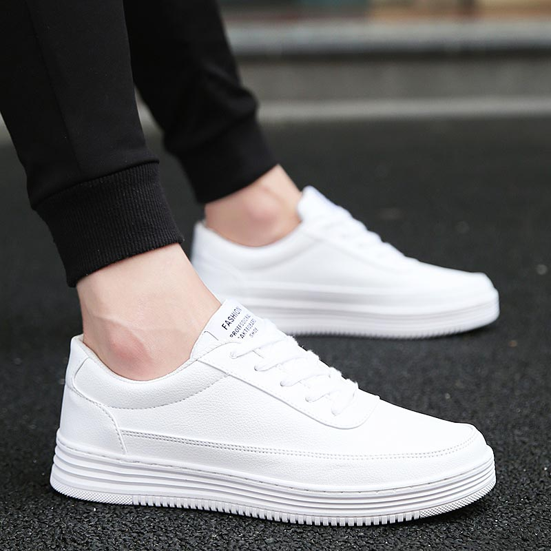 Large Size PU Leather Men's Leather Sneakers Mens Sports Shoes Running Women Sport Shoes Men Workout Shoes White Trainers A-382