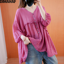 DIMANAF Summer Plus Size Women Blouse Shirt
