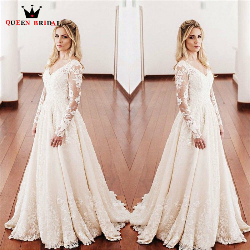 2020 New Fashion Wedding Dresses A-line Long Sleeve V-Neck Tulle Lace Beaded Elegant Vintage Wedding Gowns Customize EY02