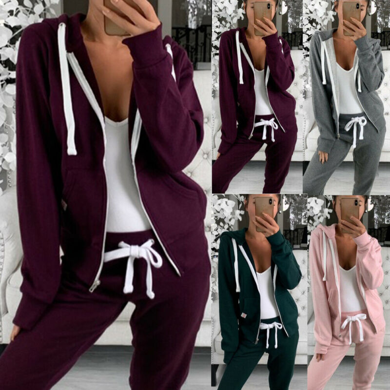 Autumn Women Warm Women's Sets 2 Piece Sports Jogger Zipper Hoodies Sweatshirt Trousers Suit Set Winter Autumn Fashion Tracksuit