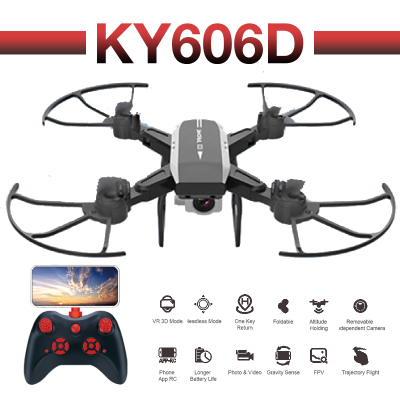 RC Quadcopter KY606D Drone 4K HD Camera WIFI FPV Altitude Holding Foldable Selfie Drones Professional Long Battery Life