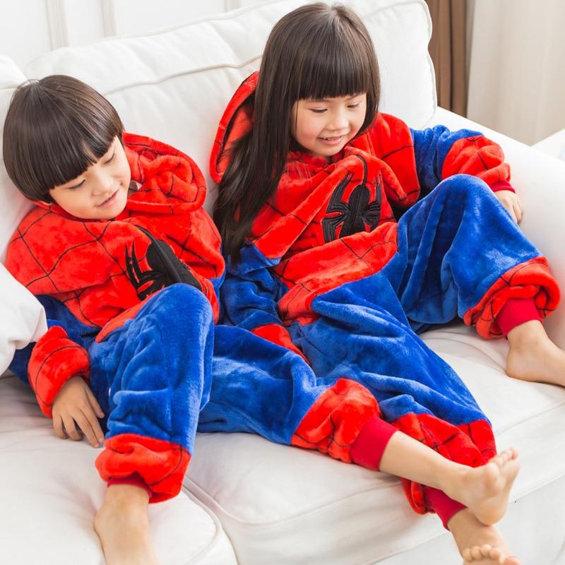 Disney Flannel Children Winter Boys Girls Captain America Ironman Cartoon Pajamas Onesies Cosplay Costume Doll Suit  Clothes New