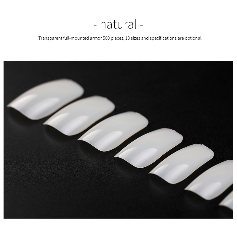 500 pieces fake nail tips Nature clear finger nails full card Nail Art display practice acrylic UV Gel varnish tool manicure in False Nails from Beauty Health
