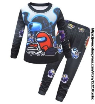 Game Among US Boy's Home Service Suit Underwear Cartoon Clothes Long-Sleeved Trousers Child Nightclothes Indoor Cotton Sleepwear 9
