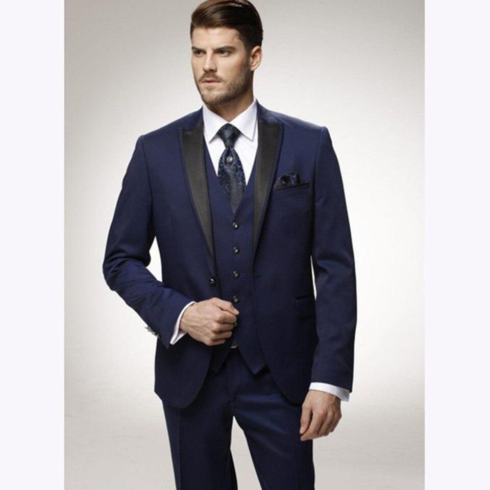 Новый Классический мужской костюм смоляный Noivo Terno, приталенный вечерний костюм Easculino для мужчин, смокинг для жениха, темно синий свадебный в