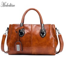 Mododiino Oil Wax Leather Designer Women Handbag Boston Bag High Quality Shoulder Ladies Female Woven DV1160