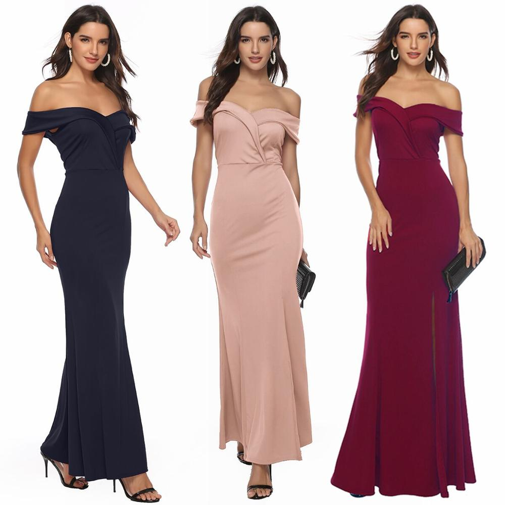 New High Quality V neck Off Shoulder Burgundy <font><b>Dress</b></font> Girl Elegant Wedding Party <font><b>Dress</b></font> Prom Gown <font><b>Bridesmaid</b></font> <font><b>Dresses</b></font> <font><b>Sexy</b></font> Slit Robe image