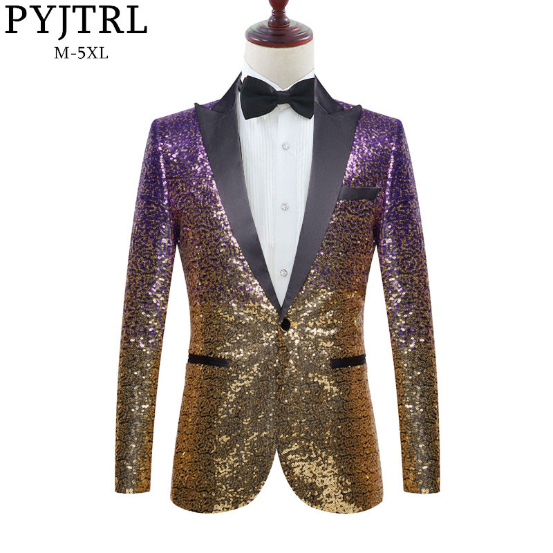 PYJTRL Men Stylish Gradual Change Gold Purple Blue Pink Green Sequins Suit Jacket Party Wedding Banquet Nightclub Singers Blazer