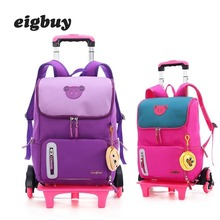 Trolley Backpack Wheeled Bag School Bag Luggage Backpacks For Children Boys Girls Latest Removable School Bags With 2/6 Wheels
