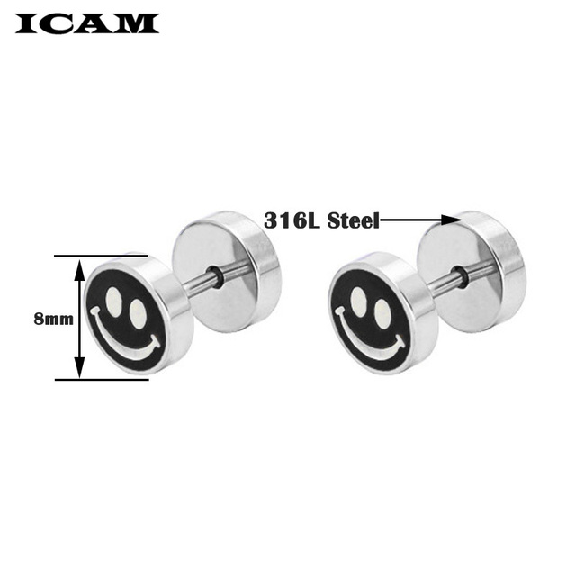 ICAM 1Pair Surgical Steel Earrings Dumbbell Tunnel Plug Earrings Set For Women Hip Hop Rock Tide.jpg 640x640 - ICAM 1Pair Surgical Steel Earrings Dumbbell Tunnel Plug Earrings Set For Women Hip Hop Rock Tide Screw Earrings Men