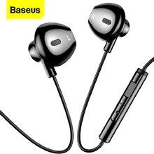 Baseus 유선 이어폰 마이크 스테레오베이스 사운드와 귀에 헤드셋 3.5mm 잭 이어폰 이어폰 이어폰 삼성 Xiaomi