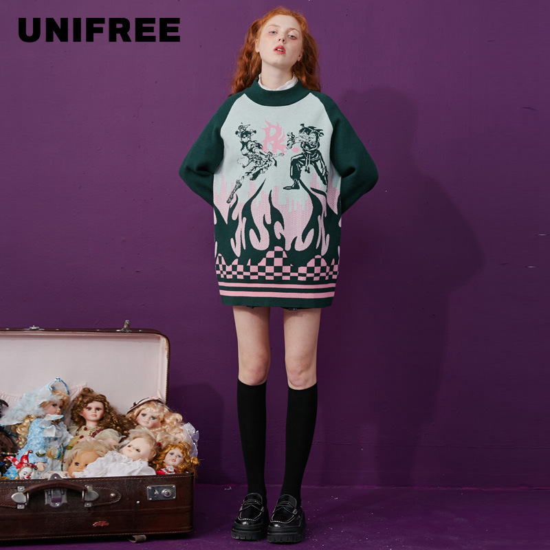 Unifree Sweater Pullover Lazy Wind 2019 Winter New Net Red Fur Earth Eating Top U194G739TT