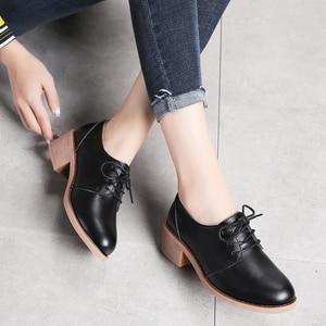 Image 4 - STQ סתיו נשים דירות סניקרס נעלי גבירותיי שרוכים מזדמן אמיתי עור אישה אור לנשימה דירות נעלי חצאיות 729