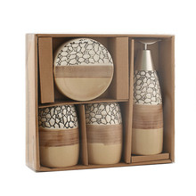 Ceramic Home Hotel Bathroom Accessories set gift European Lotion Bottle Toothbrush Wash cup Soap Dish 4 Pieces