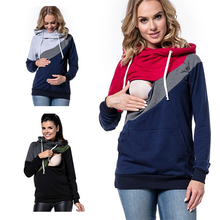 Хлопковая Модная Повседневная Лоскутная Одежда для беременных; топ с длинными рукавами для кормления; толстовка для кормления грудью; Верхняя одежда для беременных