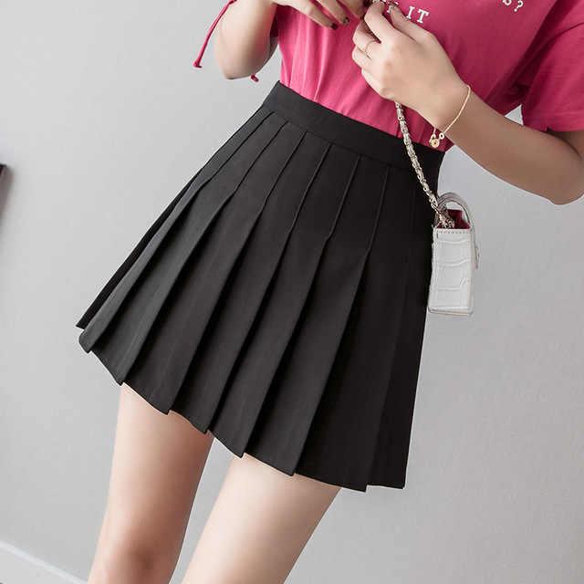 女性ハイウエストプリーツスカート女の子テニス学校白/黒のミニスカート制服女性ゆるいカジュアルなショート底