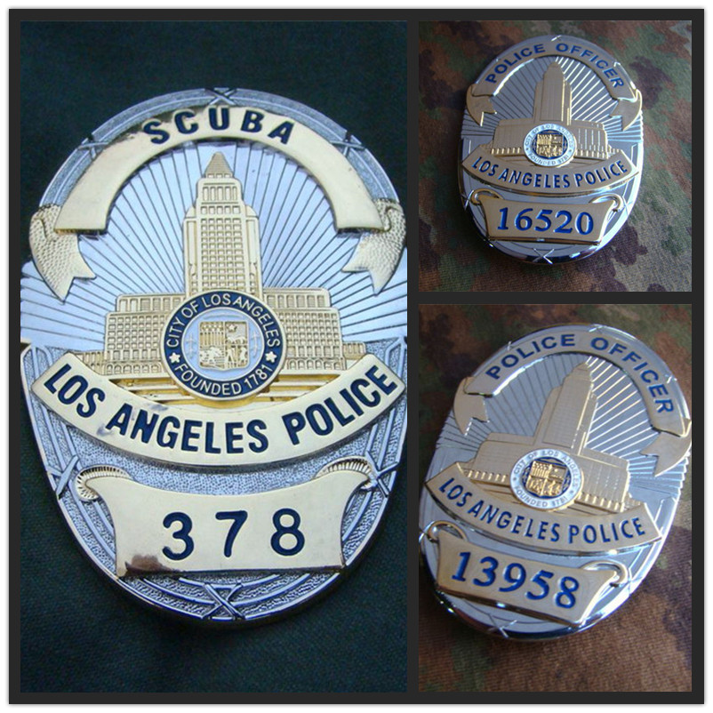 United States LA Los Angeles Police Officer Badges Copper LAPD No.378/13958/16520 Shirt Lapel Badge Brooch Pin Badge 1:1 Gifts