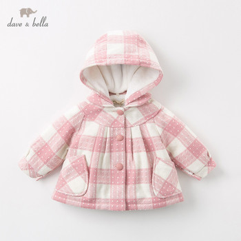 DBZ11943 dave bella autumn winter baby girls cute plaid removable hooded coat children tops fashion infant toddler outerwear
