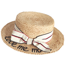 Lady Embroidery Sun Caps Boater Hat Women'S Bow Summer Ribbon Round Bow Flat Top Wide Brim Straw Hat Women Fedora Panama Hat