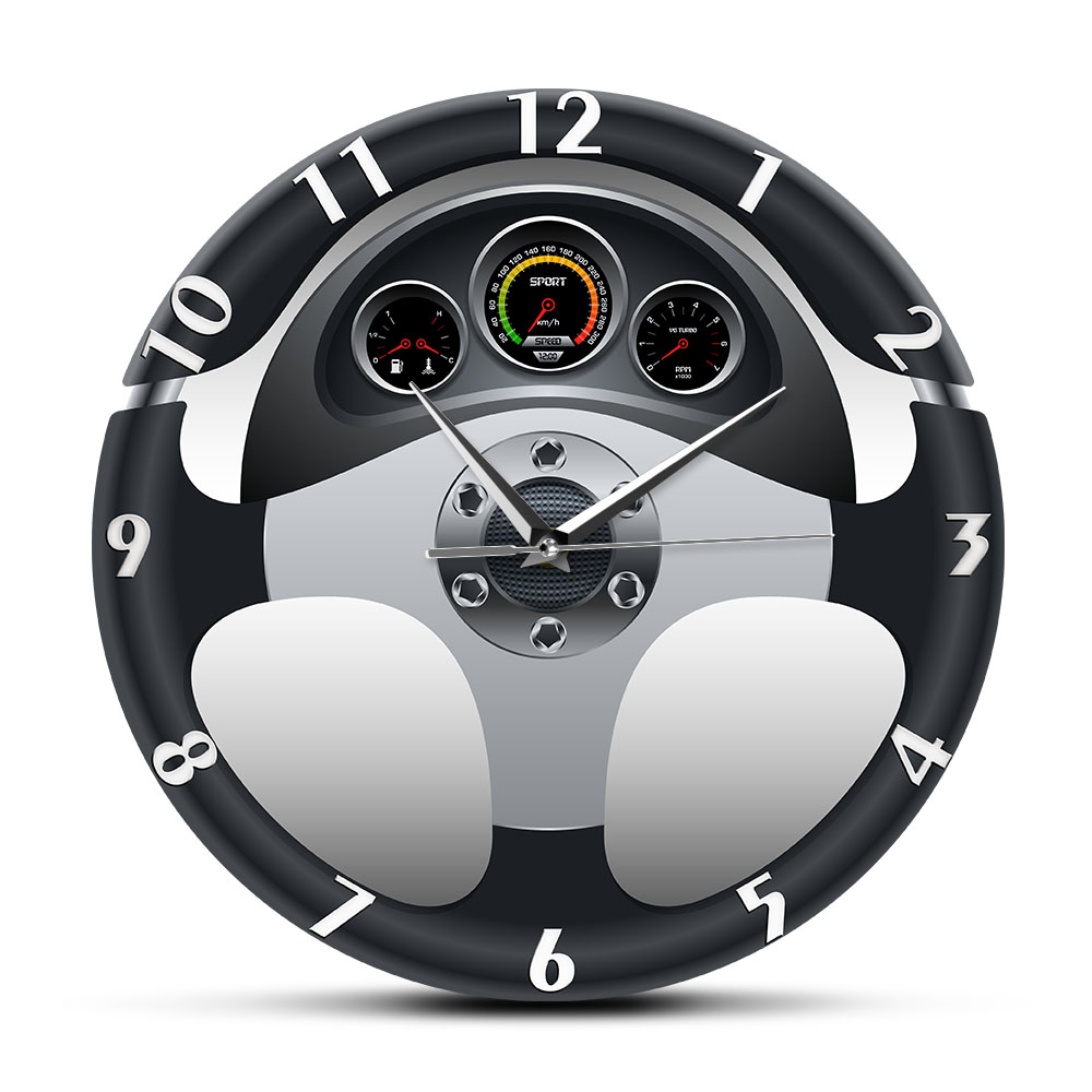 Sport <font><b>Car</b></font> Steering <font><b>Wheel</b></font> and Dashboard Printed Wall <font><b>Clock</b></font> Automobile Artwork Home Decor Automotive Drive Auto Style Wall Watch image