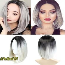 2 Tone Ombre Brown Ash Blonde Synthetic Wig for Women Middle Part