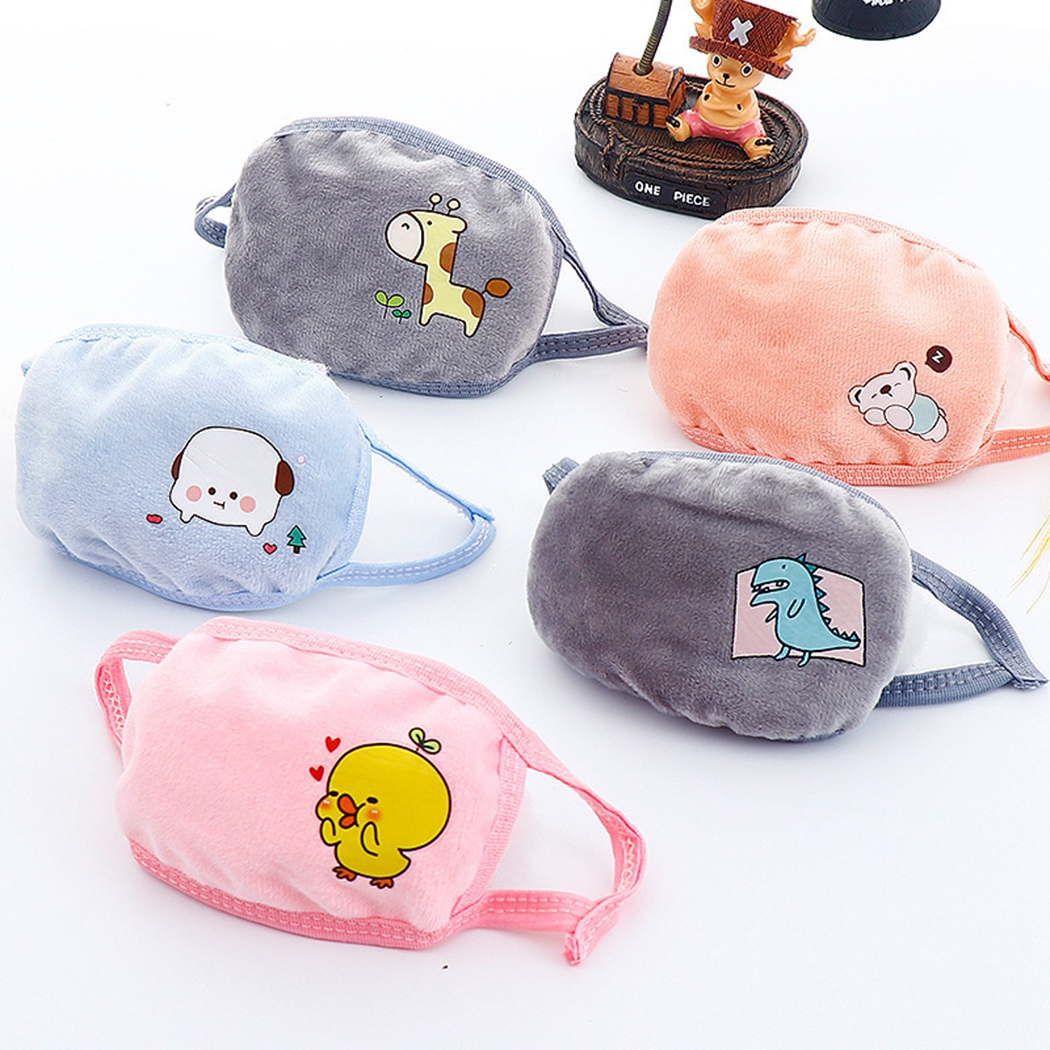 1PC Pure Cotton Kids Mouth Mask Cartoon Cute Animal Printing Breathable Warm Anti Dust Mask Mouth Cover For Outdoor Random Color