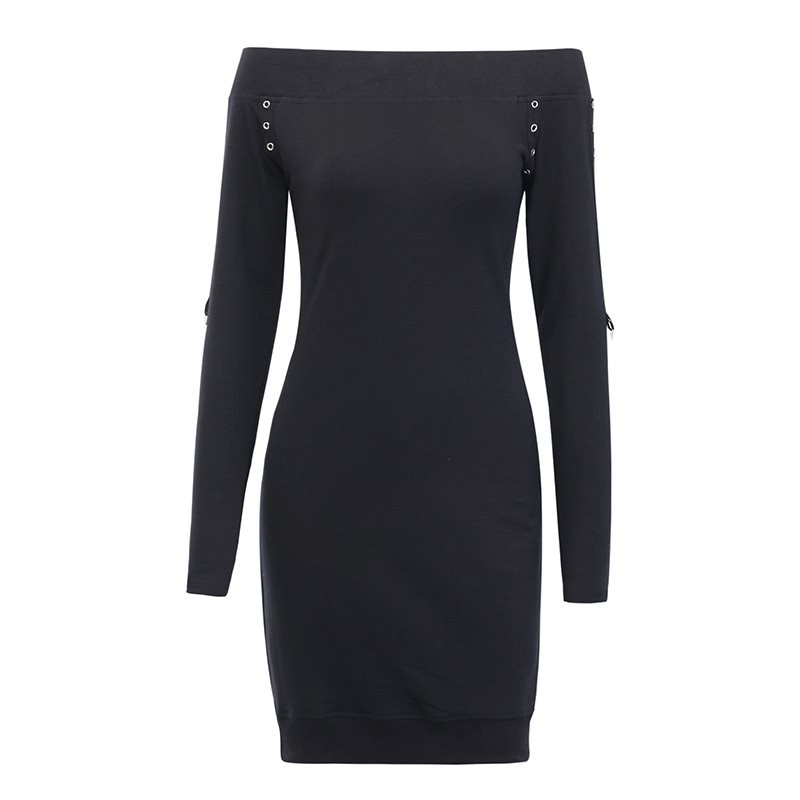 One Shoulder Dress Gothic Style Casual Warm Sweater Dress Elastic Slim With Corns Midi Dress Sexy & Club Bodycon Knit Skirt