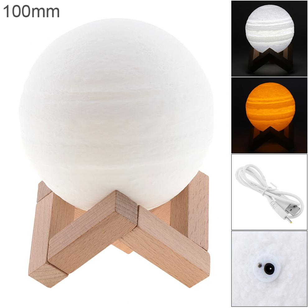 10CM Rechargeable 3D Print Jupiter Lamp with 2 Color Change Touch Switch to Adjust The Brightness for Creative Gift / Home Decor