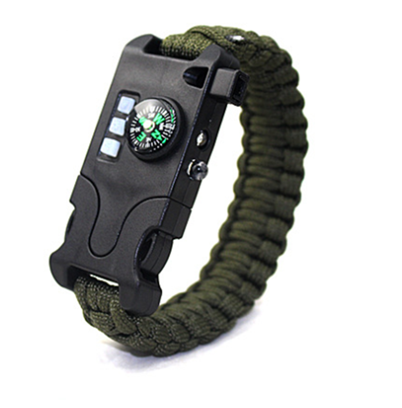 Outdoor Multifunctional Survival Laser Flashlight Paracord Bracelet 7 in 1 Hand-woven Infrared Equipment survive Tools