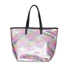 mixtx 2019 Colorful Sequin Beach Handbag Women Simple Shoulder bag Hot Sale Crystal Tote Female High capacity Shopping Bag