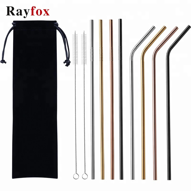 5pcs Reusable Drinking Straw Set Straight Bent 304 Stainless Steel High Quality Metal Straw With Cleaner Brush Bar Accessories