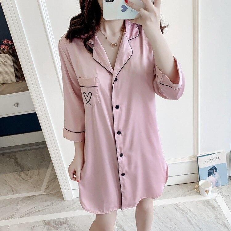 Women Sexy Lingerie Sleepwear Dress Nightwear Thin Three-quarter-length Sleeve Nightdress  Shirt-Style Women's Sleepwear