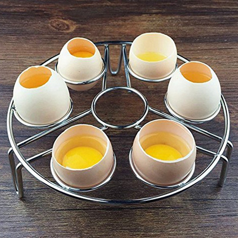 Stainless Steel Steamed Egg Rack Kitchen Waterproof Egg Steamer Home Multi-Functional 7 Hole Steamer Steaming Grid Shelf