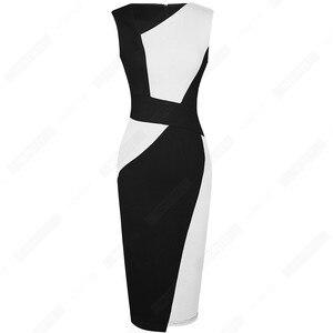 Image 5 - Vintage Women Patchwork Asymmetrical Collar Elegant Casual Work Office Sheath Slim Dress EB517