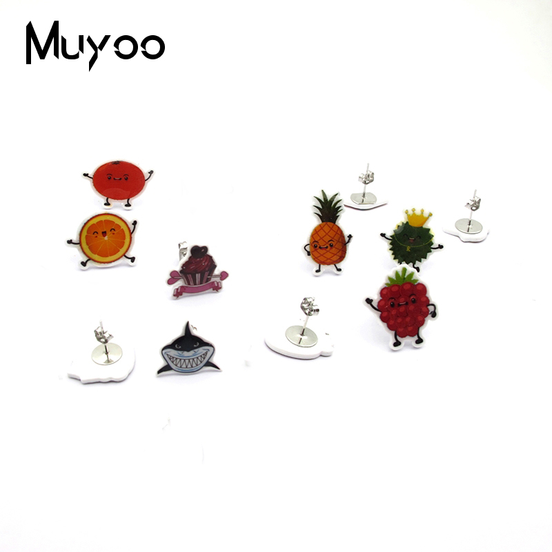 New Anime Classic TV Show Series Acrylic Resin Epoxy Stud Earrings Cartoon Characters Shrinky Dink Earrings