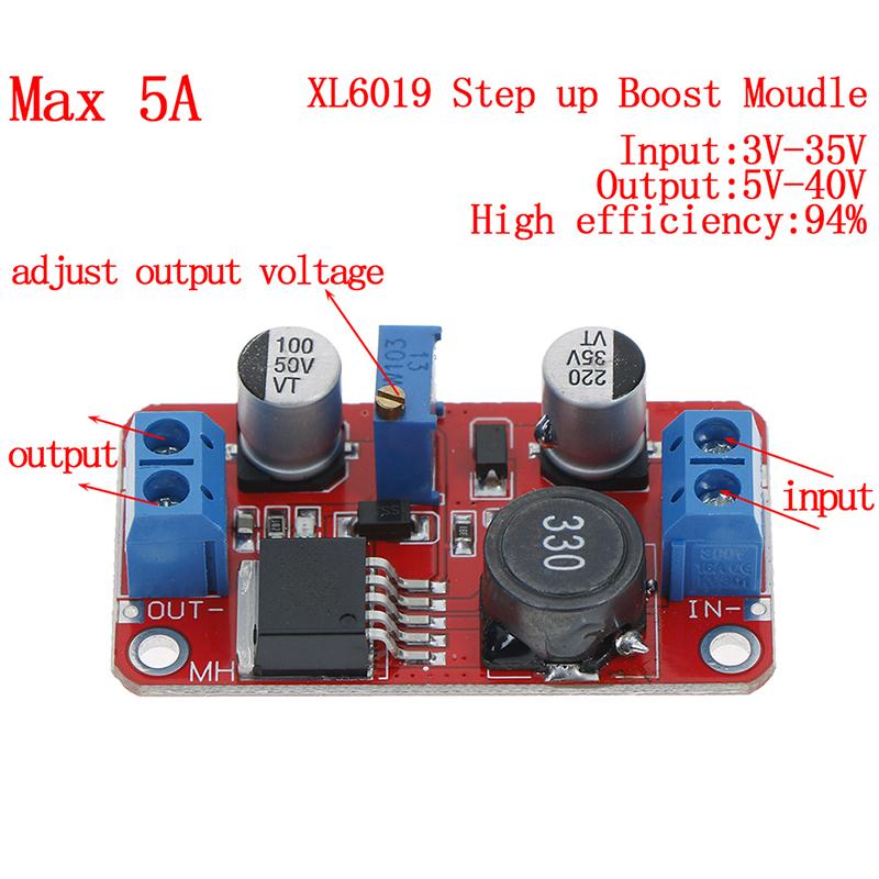 New 5A DC-DC Step Up Power Module Boost Volt Converter 3.3V-35V To 5V 6V 9V 12V 24V
