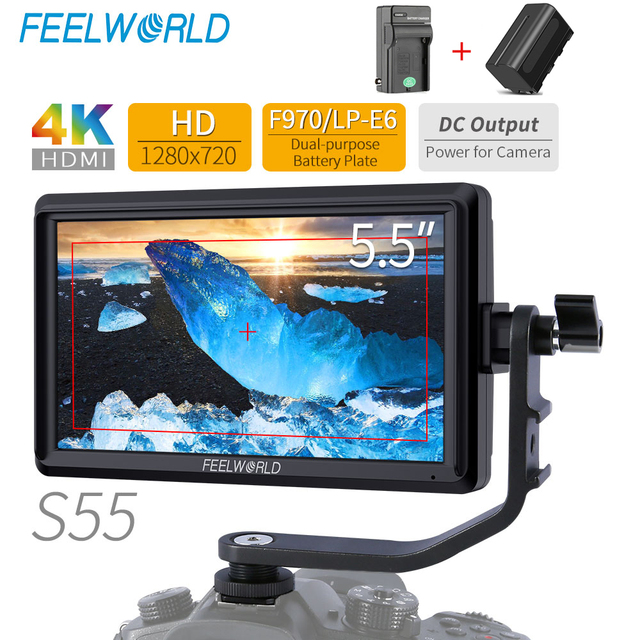FEELWORLD S55 5.5 Inch IPS on Camera Field DSLR Monitor Focus Assist 1280x720 Support 4K HDMI Input DC Output Include Tilt Arm