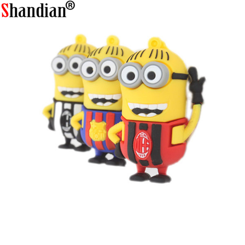 SHANDIAN Cartoon Barcelona Jersey Minions Usb Flash Drive 4GB 16G 32GB 64GB Despicable Me 2 Smile USB 2.0 Memory Stick Pendrives