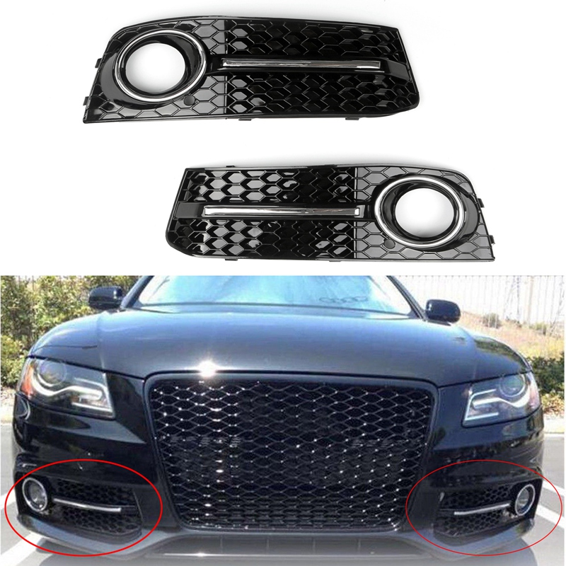Car Front Bumper Fog Light Comb Grilles Grill for Audi A4 B8 2009-2012 Left/ Right ABS Plastic Car S4 Styling Parts